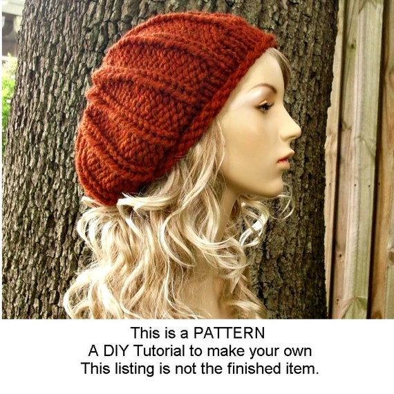 Instant Download Knitting Pattern - Knit Hat Pattern for Chunky Rolled Brim Ribbed Beret Pattern - Knit Beret Pattern Womens Accessories