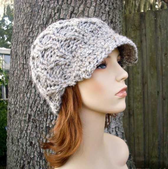 Tweed Grey Knit Hat Grey Womens Hat Grey Newsboy Hat - Amsterdam Cable Beanie with Visor - Grey Hat Grey Beanie Womens Accessories