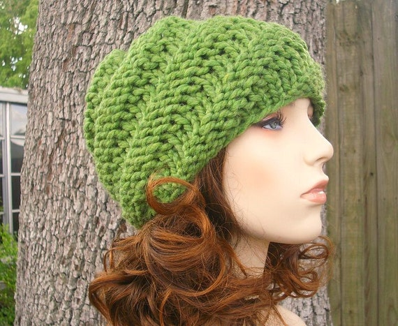 Knit Hat Green Womens Hat Green Mens Hat - Swirl Beanie in Grass Green Knit Hat - Green Hat Green Beanie Womens Accessories Winter Hat