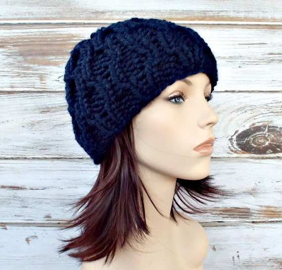 Knit Hat Navy Blue Womens Hat Amsterdam Beanie in Navy Blue  6dcfd78d384