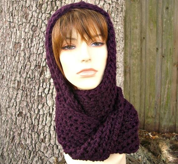 Purple Womens Hat Purple Hooded Scarf Purple Hat - Gretel Wrap in Eggplant Purple Crochet Hat - Purple Scarf Purple Wrap Womens