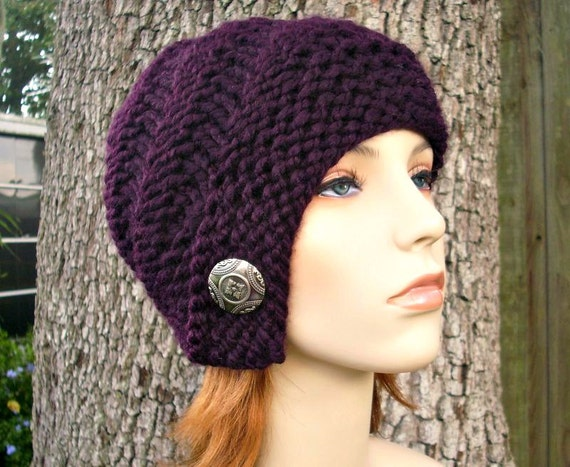 Knit Hat Womens Hat - Hybrid Swirl Cloche Hat in Purple Eggplant Knit Hat - Womens Accessories Winter Hat
