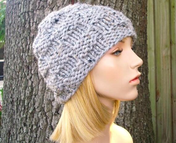 Knit Hat Grey Mens Hat Grey Womens Hat - Basket Weave Beanie in Tweed Grey Knit Hat - Grey Hat Grey Beanie Womens Accessories Winter Hat