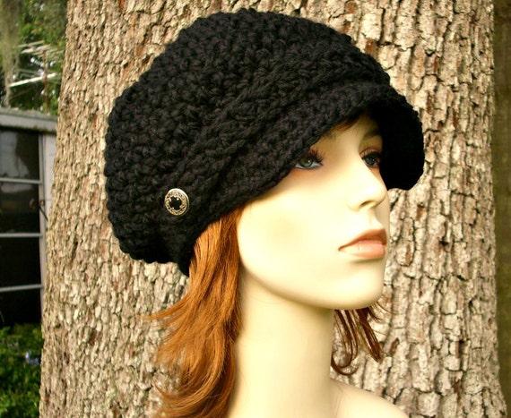 Black Newsboy Hat Crochet Hat Womens Hat - Crochet Newsboy Hat Black Crochet Hat - Black Hat Black Beanie Womens Accessories