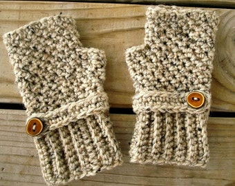 Crocheted Fingerless Gloves Mittens - Oatmeal Fingerless Gloves - Oatmeal Gloves Oatmeal Mittens Womens Accessories