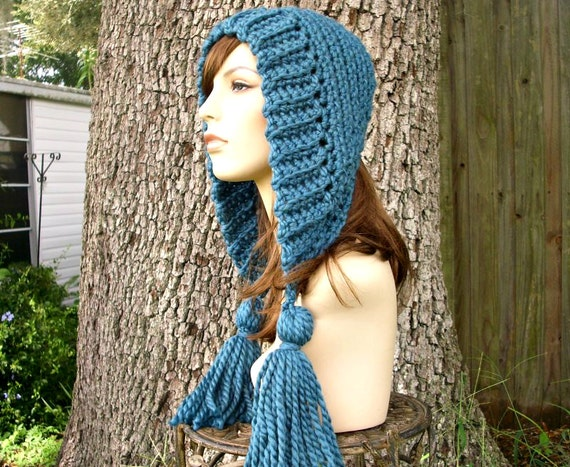 Teal Blue Womens Hat Crochet Hood - Tassel Hat Blue Ear Flap Hat - Teal Blue Crochet Hat - Blue Hat Blue Hood Womens Accessories Winter Hat