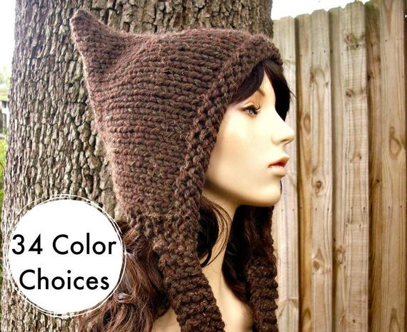 Brown Pixie Hat Wood Brown Knit Hat Brown Womens Hat - Brown Hat Brown Ear Flap Hat Womens Accessories Winter Hat - 34 Color Choices