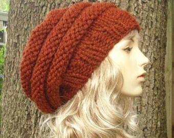 Knit Hat Womens Hat Slouchy Beanie - Oversized Beehive Beret Knit Hat in Rust Orange Knit Hat - Rust Hat Rust Beret Womens Accessories