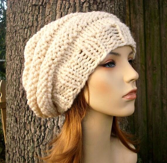 Cream Womens Hat Oversized Beehive Beret Hat Starlight Cream and Gold Chunky Knit Hat - Cream Hat Cream Beret Womens Accessories Winter Hat