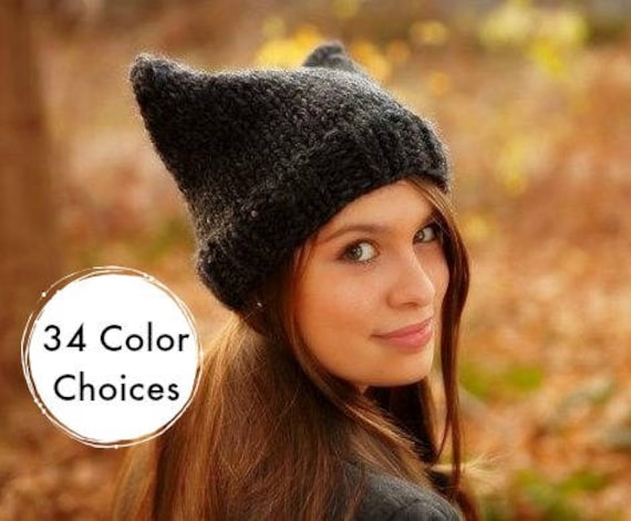 Knit Hat Womens Hat - Charcoal Grey Cat Beanie - Grey Hat Grey Beanie - Winter Hat - Pussyhat Pussy Hat Knit Accessories - 34 Color Choices