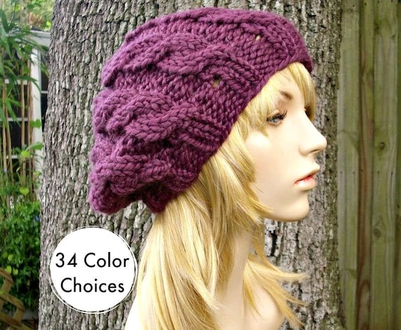 Purple Knit Hat Womens Hat Cable Beret Hat in Fig Purple  1c04f71d869
