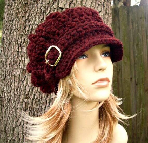 Crochet Hat Womens Hat Newsboy Hat - Oversized Monarch Ribbed Crochet Newsboy Hat in Oxblood Wine Burgundy Crochet Hat