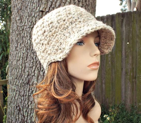 Oatmeal Newsboy Hat Crochet Hat Womens Hat - Jockey Cap Oatmeal Hat Oatmeal Beanie Crochet Newsboy Hat - Womens Accessories
