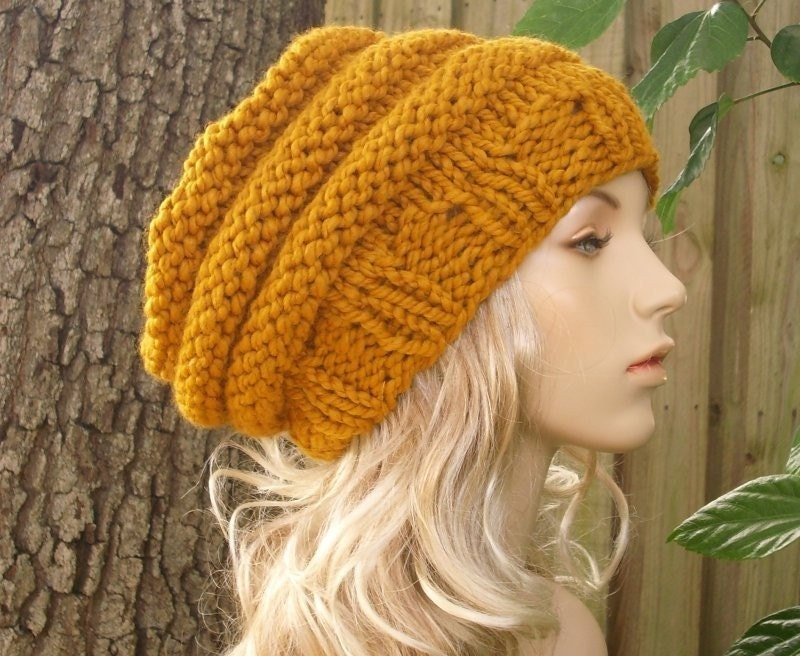 Knit Hat Mustard Womens Hat Slouchy Beanie - Oversized Beehive Beret Hat  Mustard Yellow Knit Hat - Womens Accessories 932e3ffd295