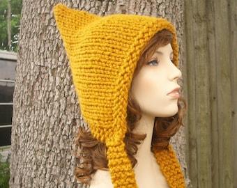 Knit Hat Womens Hat - Mustard Pixie Hat Mustard Yellow Knit Hat - Yellow Hat Mustard Hat Yellow Pixie Hat Womens Accessories Winter Hat