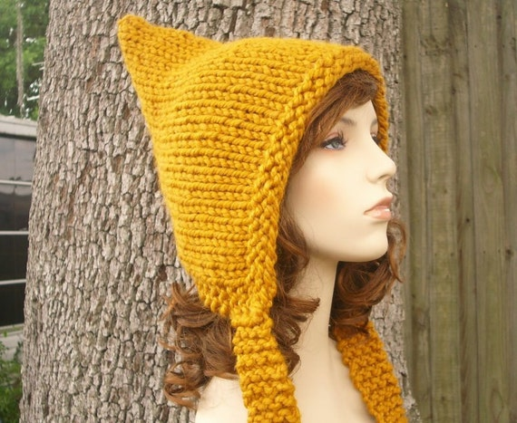 Knit Hat Womens Hat - Mustard Pixie Hat Mustard Yellow Knit Hat - Yellow Hat Mustard Hat Yellow Pixie Hat Womens Accessories Winter Hat