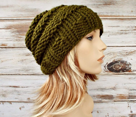 Knit Hat Womens Hat Mens Hat Beehive Beanie in Olive Green  23bad4dd505