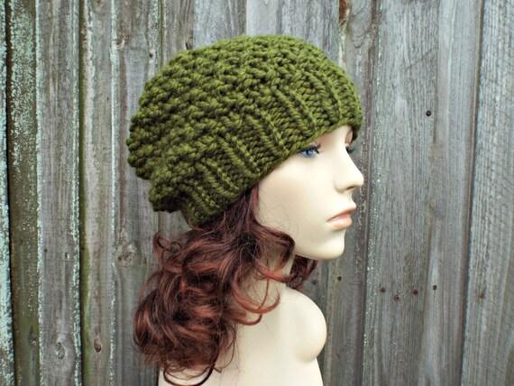 Olive Green Chunky Knit Hat Womens Beanie Mossy Beanie in  47b9fc014c8