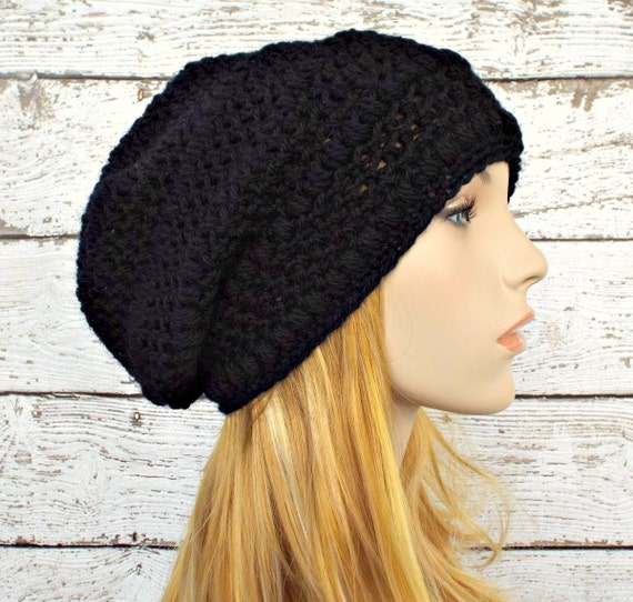 Black Womens Hat - Penelope Puff Stitch Slouchy Beanie Black Crochet Hat - Black Beanie Black Hat Womens Accessories Fall Fashion Winter Hat