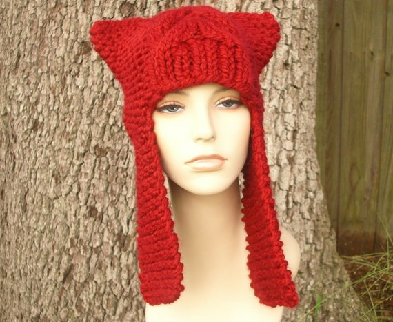Knit Hat Red Womens Hat - Dragon Slayer Red Ear Flap Hat in Cranberry Red Knit Hat - Red Hat Red Beanie Womens Accessories Winter Hat