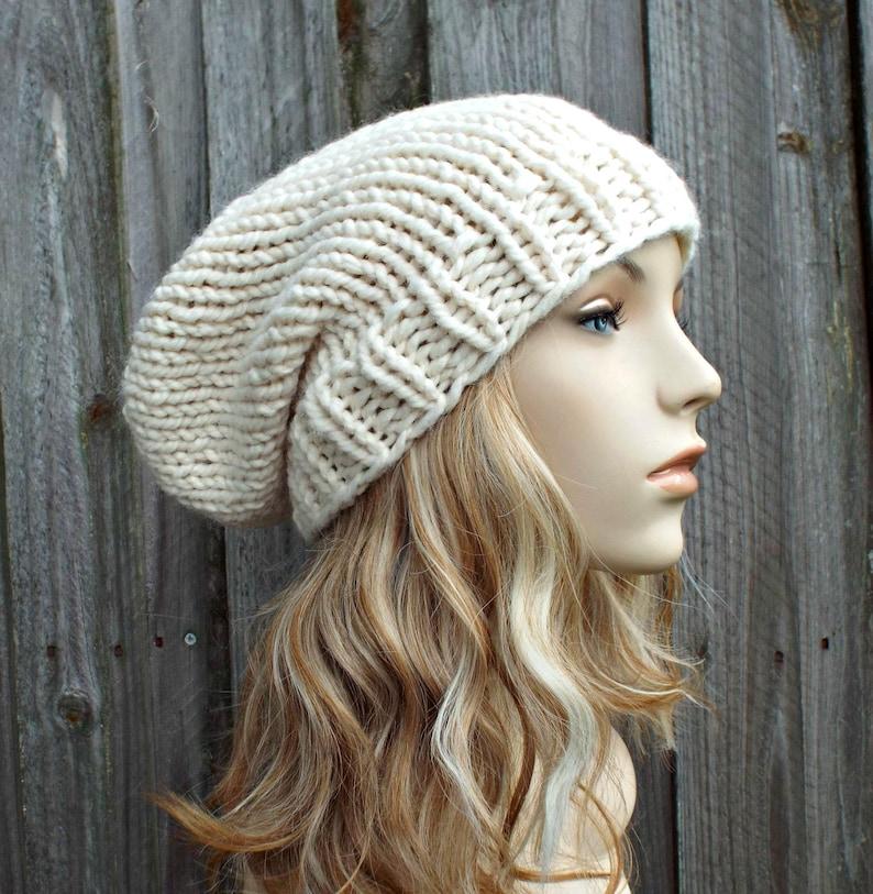 6ebe775e34a64 Cream Slouchy Beanie Knit Womens Hat Mens Hat Toque Beanie