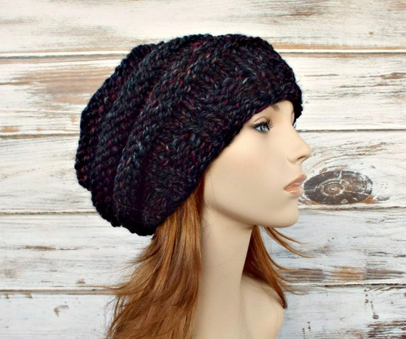 Knit Hat Womens Hat - Oversized Beehive Beret Hat in Blackstone Black Charcoal Grey Wine Knit Hat - Grey Hat Grey Beret Womens Accessories