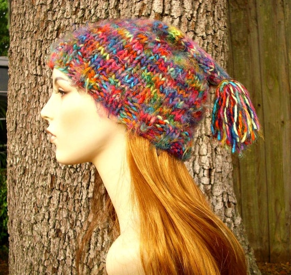Womens Hat - Toboggan Hat in Metropolis Multicolor Rainbow Knit Hat - Multicolor Hat Womens Accessories Winter Hat