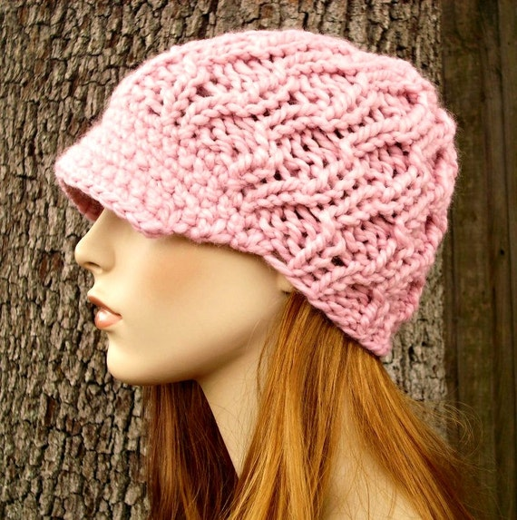Pink Womens Hat Pink Newsboy Hat - Amsterdam Cable Beanie with Visor in Blossom Pink Knit Hat - Pink Hat Pink Beanie Womens Accessories