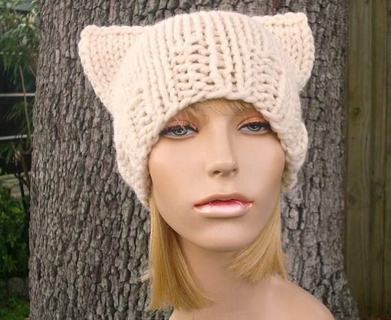 Knit Hat Womens Hat Cat Beanie Hat in Cream Knit Hat Cream  47c22817e03