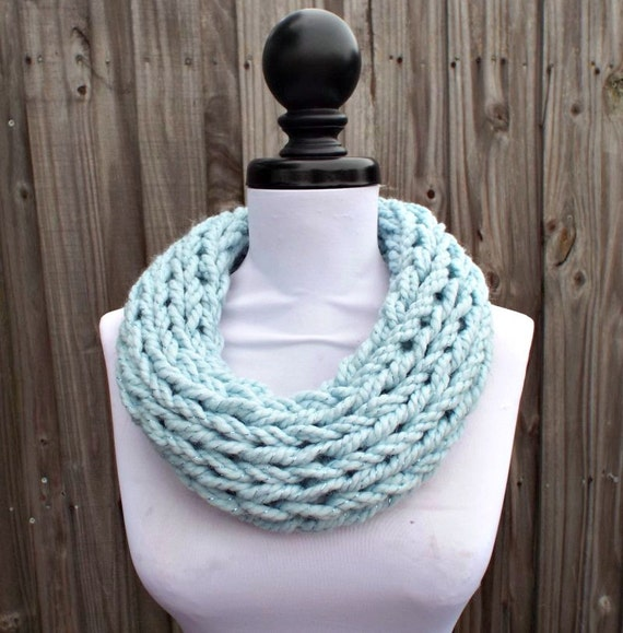 Knit Cowl - Polar Circle Scarf Cowl in Mystical Metallic Pale Blue - Blue Cowl Blue Scarf Womens Accessories