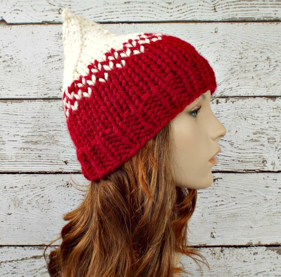 Cream and Red Knit Hat Red Womens Hat - Red Gnome Hat Cream Hat Red Beanie Womens Accessories Winter Hat