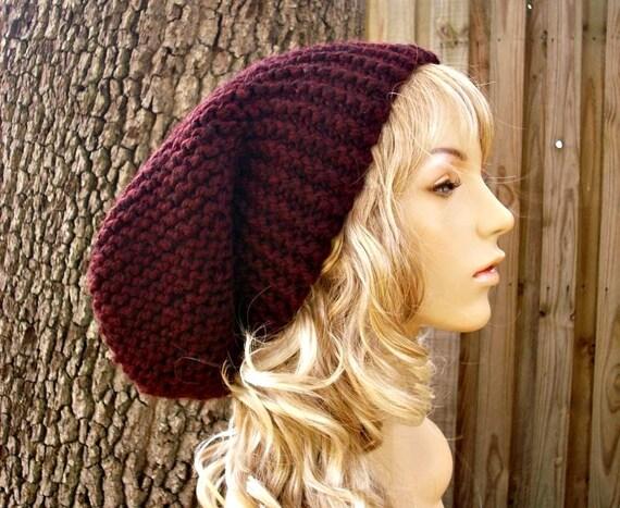 Oversized Beanie Hat Claret Red Wine Hat Slouchy Beanie Knit Hat Womens Hat - Slouchy Knit Hat Red Hat Red Beanie