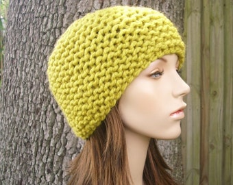 Yellow Mens Hat Yellow Womens Hat - Garter Beanie Citron Yellow Knit Hat - Yellow Hat Yellow Beanie Chunky Hat Womens Accessories Winter Hat