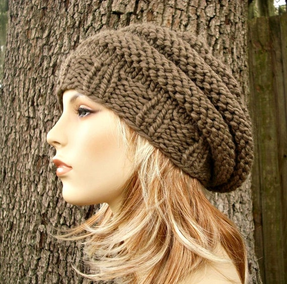Knit Hat Womens Hat - Original Beehive Beret Hat Taupe Brown Knit Hat - Taupe Hat Taupe Beret Taupe Beanie Brown Hat Womens Accessories