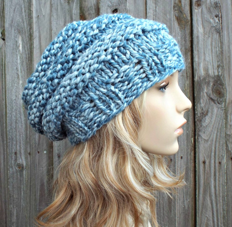 f402e418f0a07 Peppermint Light Blue Knit Hat Blue Womens Hat Beehive Beret