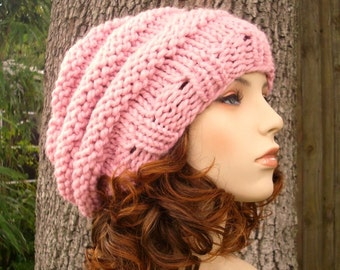 Knit Hat Womens Hat Slouchy Beanie - Oversized Beehive Beret Hat Blossom Pink Knit Hat - Pink Hat Pink Beret Pink Beanie Womens Accessories