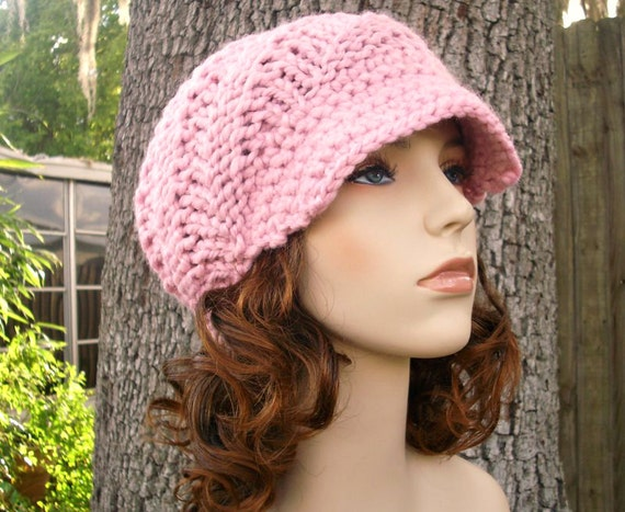 Knit Hat Pink Womens Hat Pink Newsboy Hat - Swirl Beanie with Visor in Pink Knit Hat - Pink Hat Pink Beanie Womens Accessories