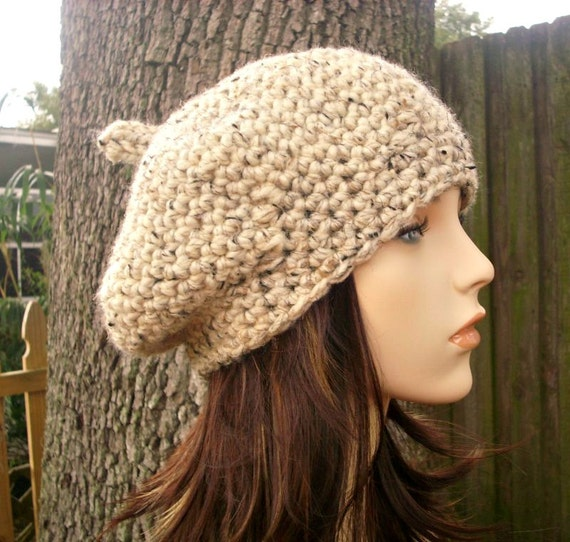 Crochet Hat Womens Hat - Directors Beret Oatmeal Crochet Hat Oatmeal Hat Oatmeal Beret Oatmeal Beanie Womens Accessories