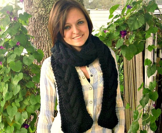 Black Knit Scarf - Black Cable Scarf - Black Scarf Black Womens Scarf Black Chunky Scarf Black WInter Scarf Womens Accessories