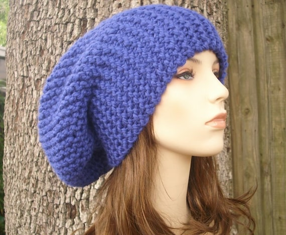 Oversized Knit Hat Womens Hat Blue Slouchy Beanie Blue  9b29071cf82