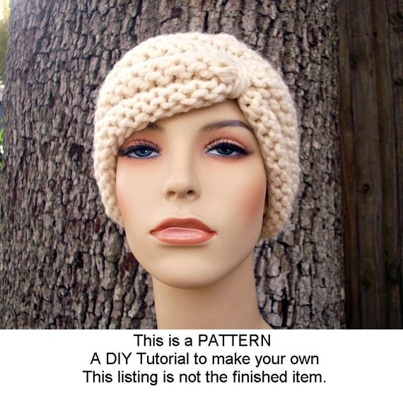 Instant Download Knitting Pattern - Knit Hat Knitting Pattern - Knit Hat Pattern for Turban Hat Beanie - Womens Hat - Womens Accessories