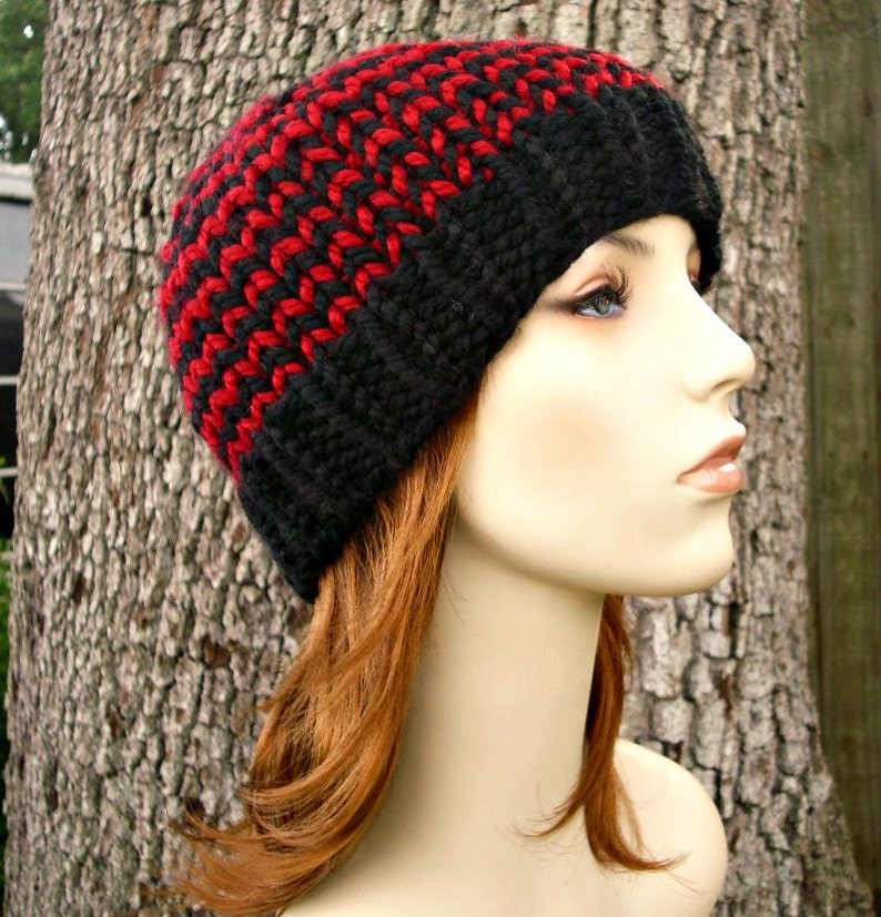 Toque Beanie Hat in Black and Red Knit Hat Womens Accessories Winter Hat Knit Hat Womens Hat Mens Hat