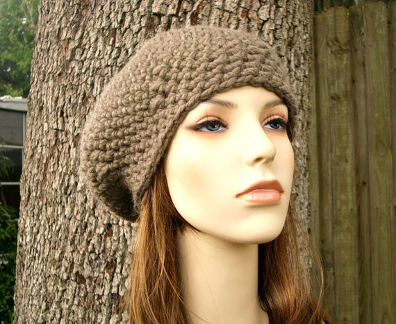 Crochet Hat Womens Hat - Directors Beret in Brown Taupe Crochet Hat - Taupe Hat Brown Hat Taupe Beret Taupe Beanie - READY TO SHIP