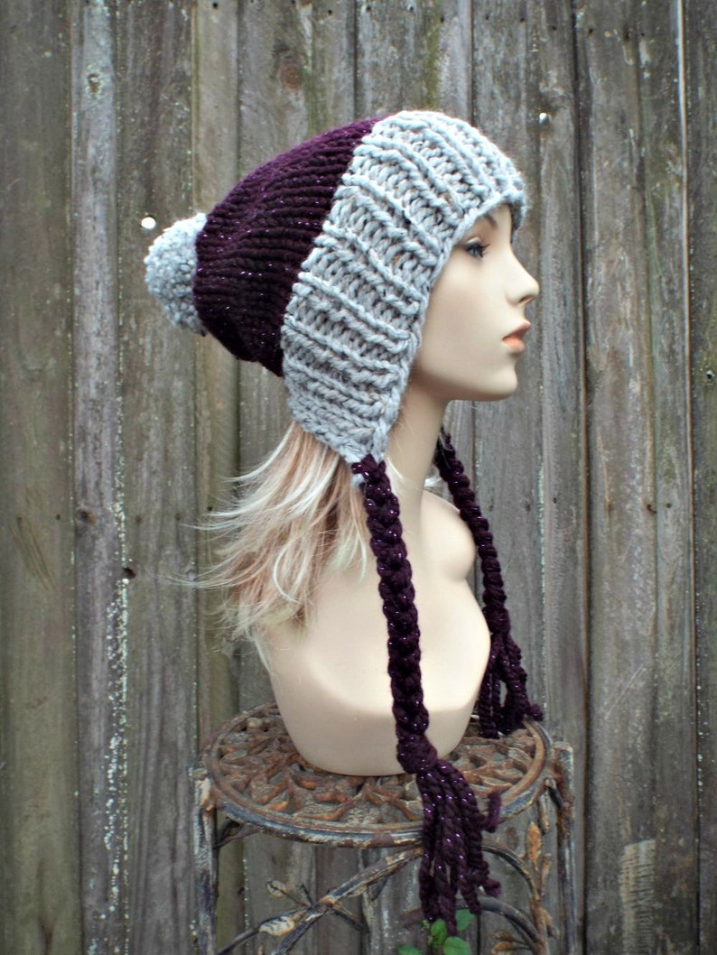 21d3ed51c7d Chunky Knit Hat Womens Grey and Purple Pom Pom Hat Slouchy