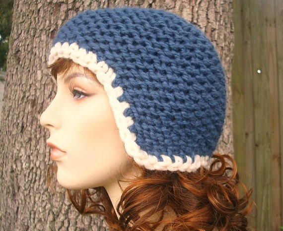 Denim Blue Ear Flap Hat Blue Knit Hat Blue Womens Hat - Garter Helmet - Blue Hat Blue Beanie Womens Accessories Winter Hat