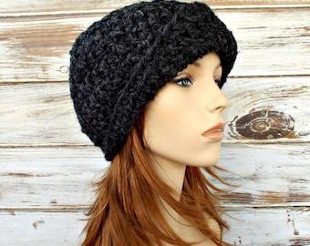 Crochet Hat Womens Hat 1920s Flapper Hat - Garbo Cloche Hat in Charcoal Grey Crochet Hat - Womens Accessories Winter Hat