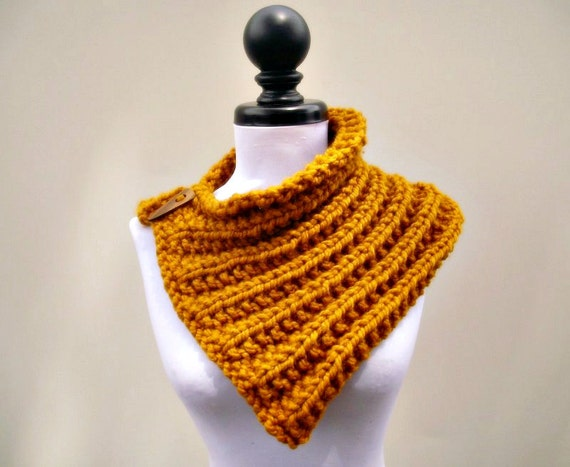 Knit Cowl Scarf - Elspeth Cowl in Mustard Yellow - Yellow Cowl Mustard Coel Yellow Scarf Mustard Scarf Womens Accessories