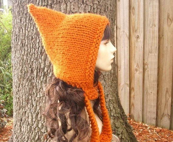 Knit Hat Orange Womens Hat - Pixie Hat in Pumpkin Orange Knit Hat - Womens Accessories Orange Hat Orange Pixie Hat