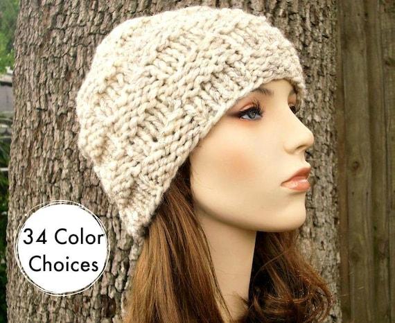 Knit Hat Womens Hat - Basket Weave Beanie Wheat Cream Knit Hat - Wheat Hat Cream Hat Wheat Beanie Cream Beanie Winter Hat