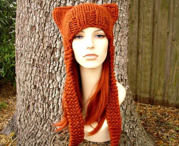 Orange Knit Hat Orange Womens Hat - Orange Ear Flap Cat Hat in Rust Orange Knit Hat - Orange Hat Orange Beanie Womens Accessories Winter Hat